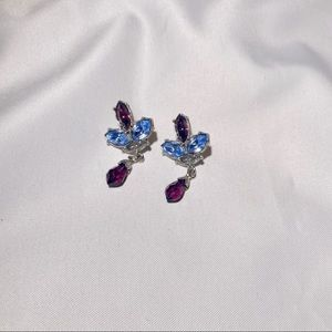 Vintage Blue and Purple Diamonds Earrings
